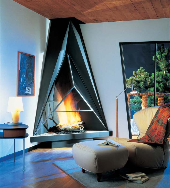 5 geometric corner artwork - Modern Fireplace Design Ideas