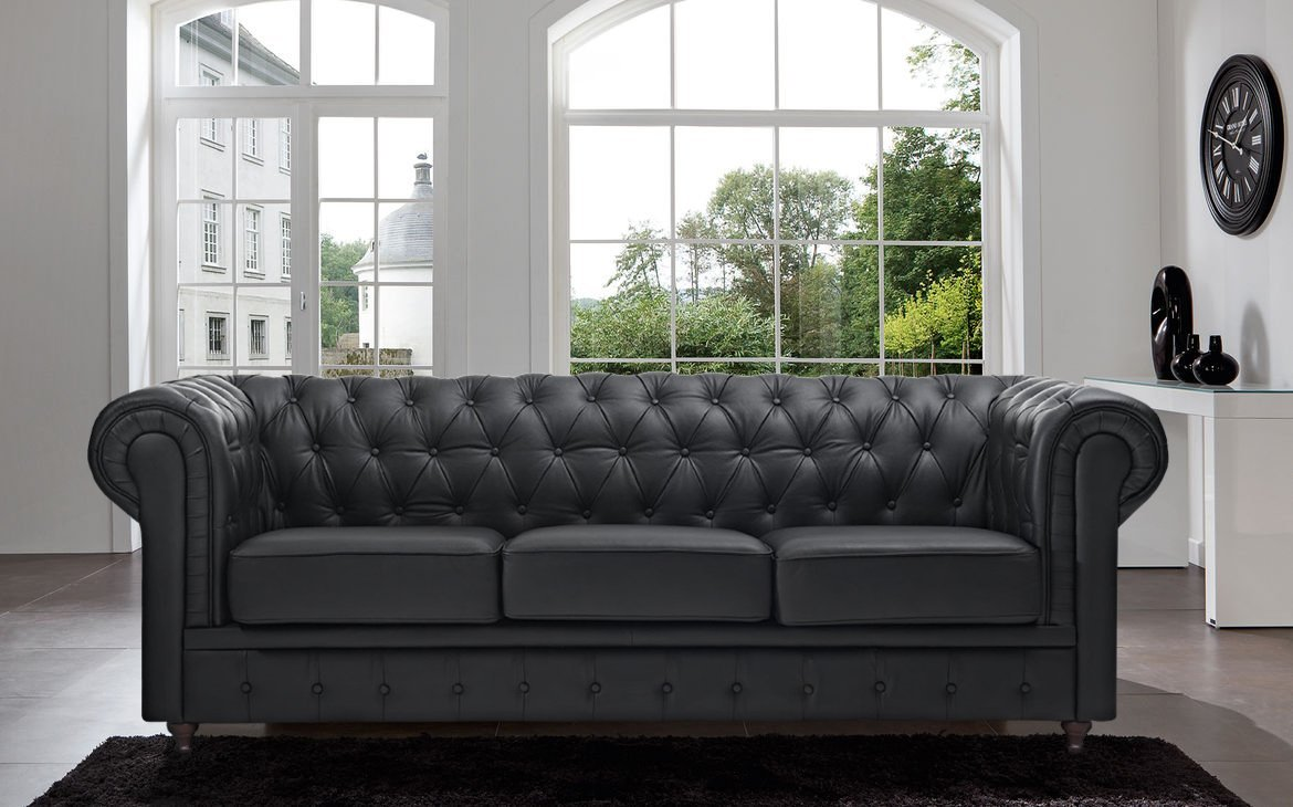 Classic Scroll Arm Tufted Button Leather Chesterfield Sofa