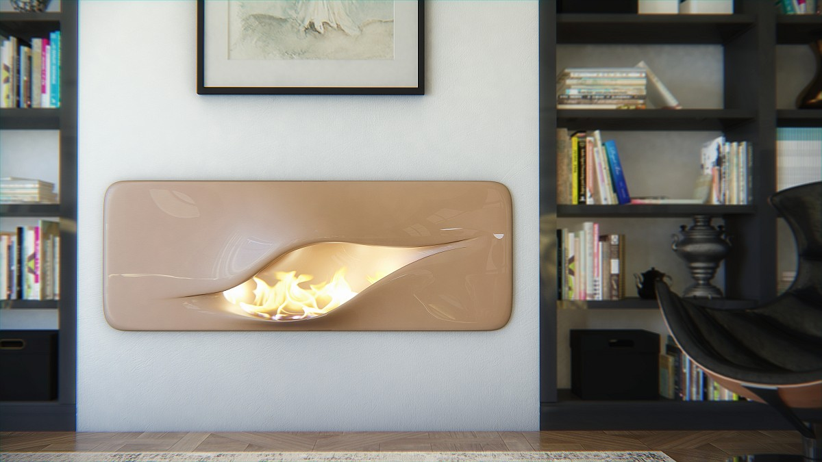curved and sculptural modern fireplace design - Modern Fireplace Design Ideas