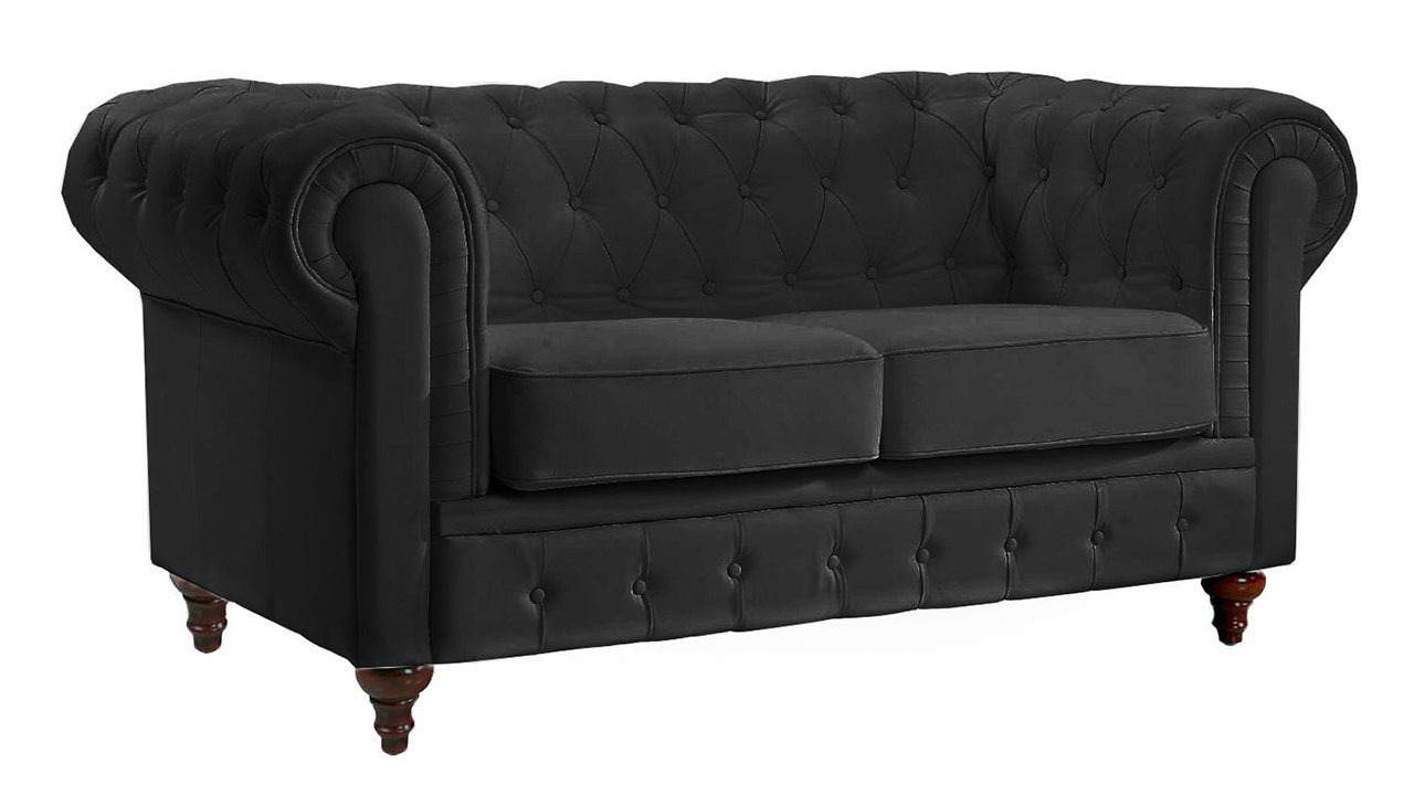 Classic Scroll Arm Tufted Leather Chesterfield Loveseat