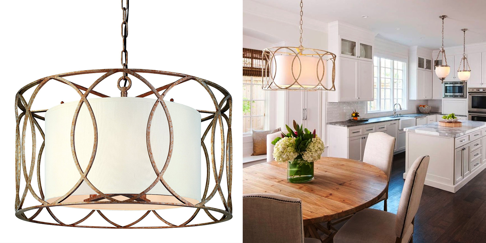 Troy Gold Drum Shade Pendant