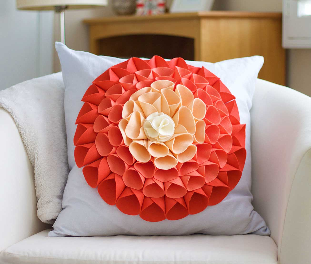 Colorful floral accent pillow