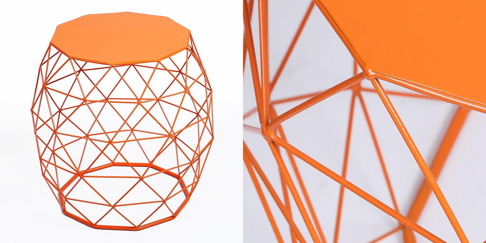 Patio Chair - Hatched Diamond Pattern Metal Stool