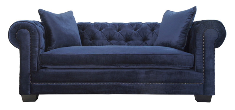 TOV-NORWALK Navy Velvet Chesterfield Sofa