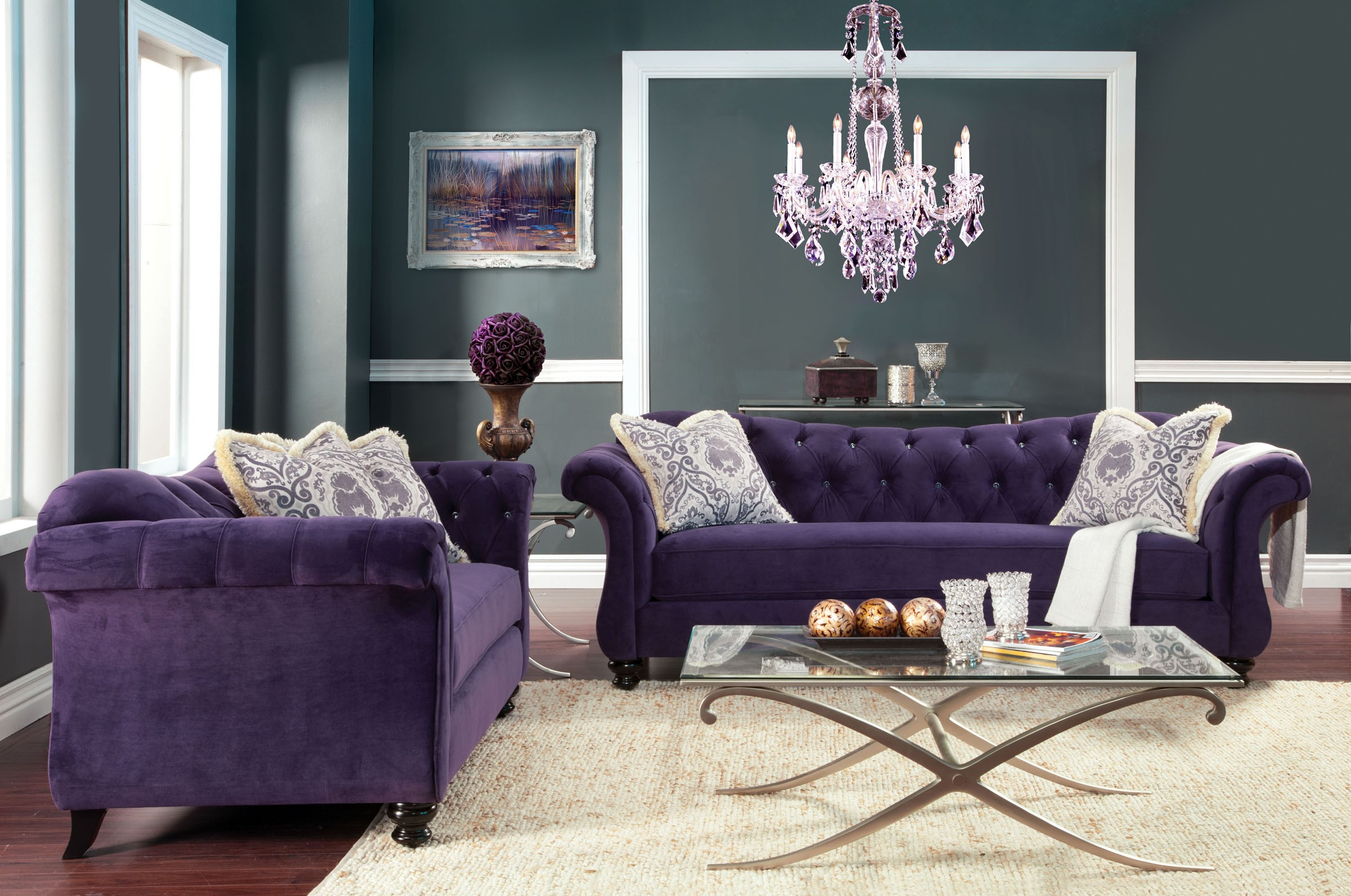 2 Piece Antoinette Collection Purple Chesterfield Love Seat and Sofa Set