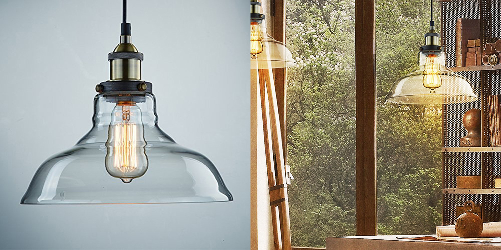 Ecopower Vintage Pendant Glass Shade Light