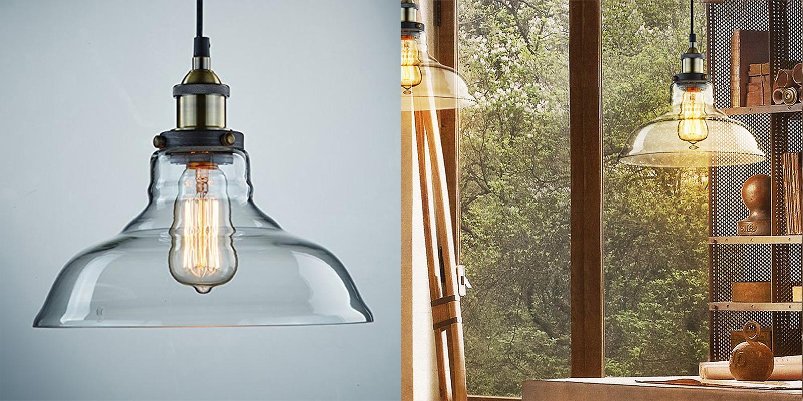 Ecopower Vintage Pendant Glass Shade Light