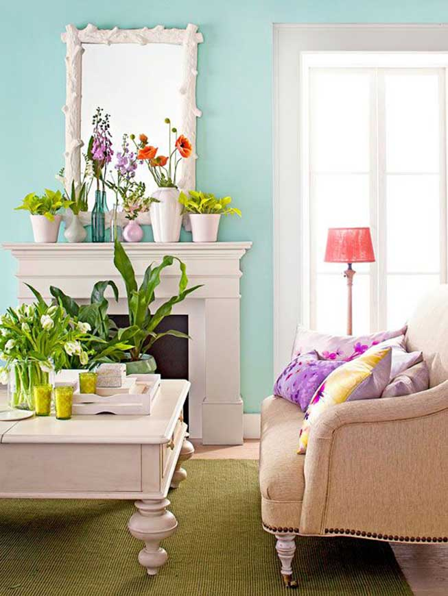 Vibrant living room summer decor