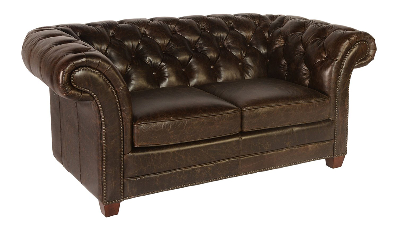 Brown Leather Chesterfield Loveseat Vintage Victoria Collection By Lazzaro Leather