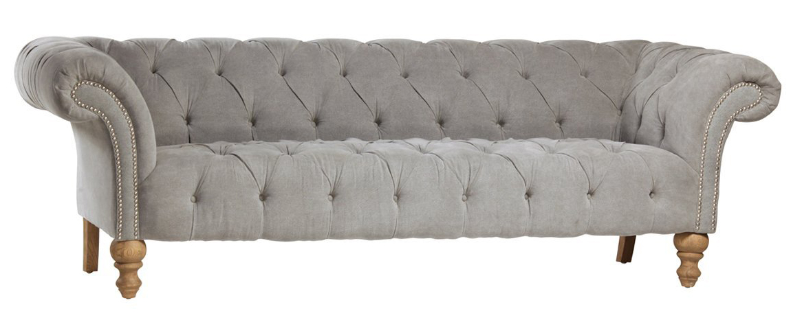 Chesterfield Linen Sofa