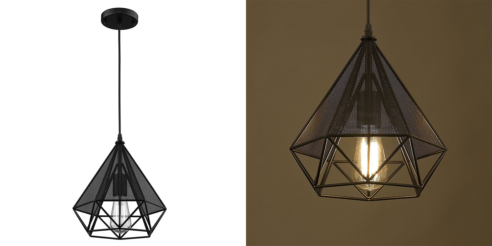 CLAXY Industrial Kitchen Black Metal Lamp