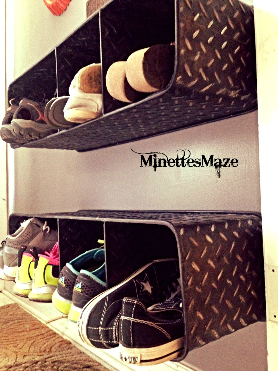 Metallic Shoe Cubbies