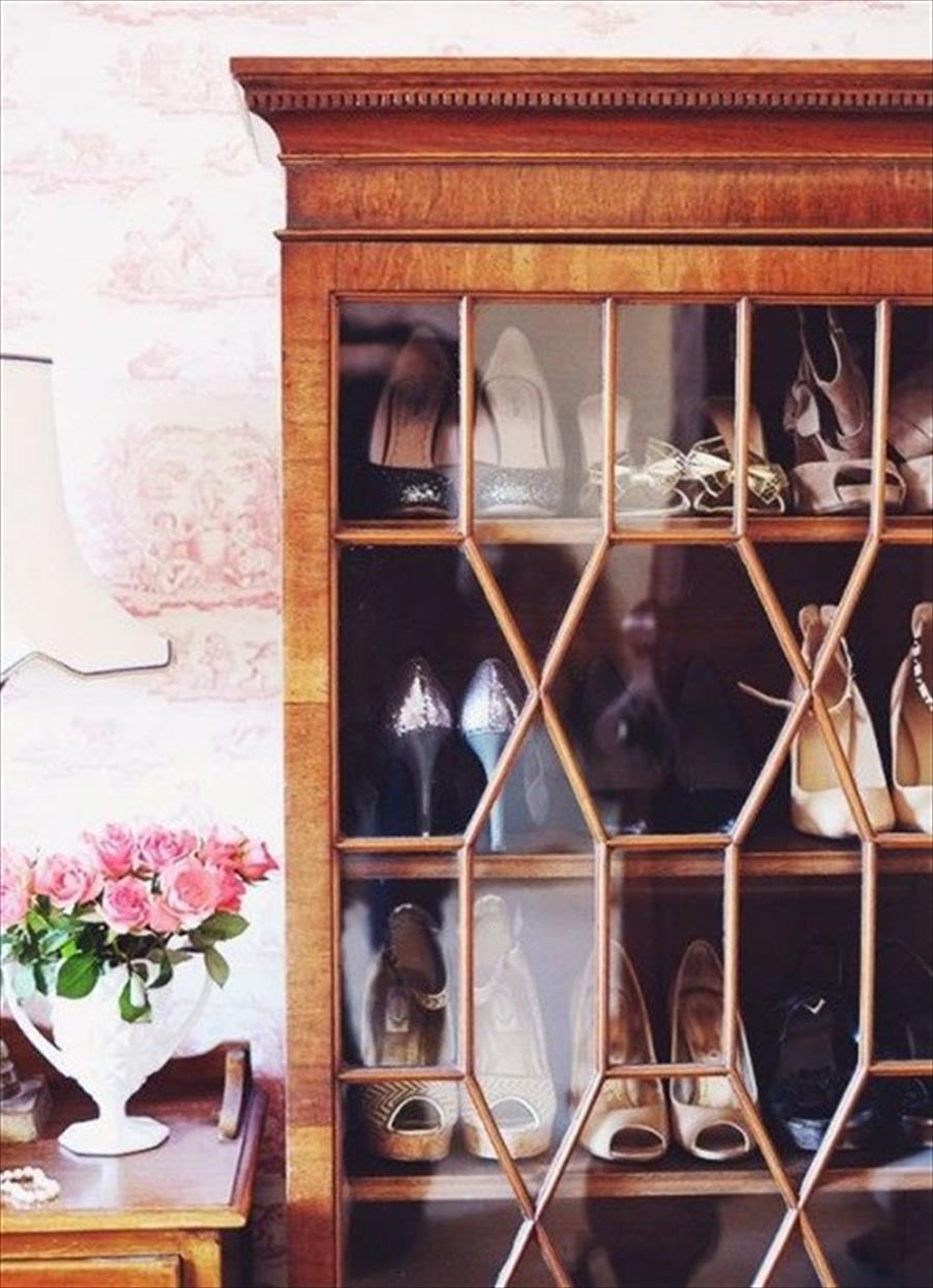 Formal Wood and Glass Shoe Cabinet