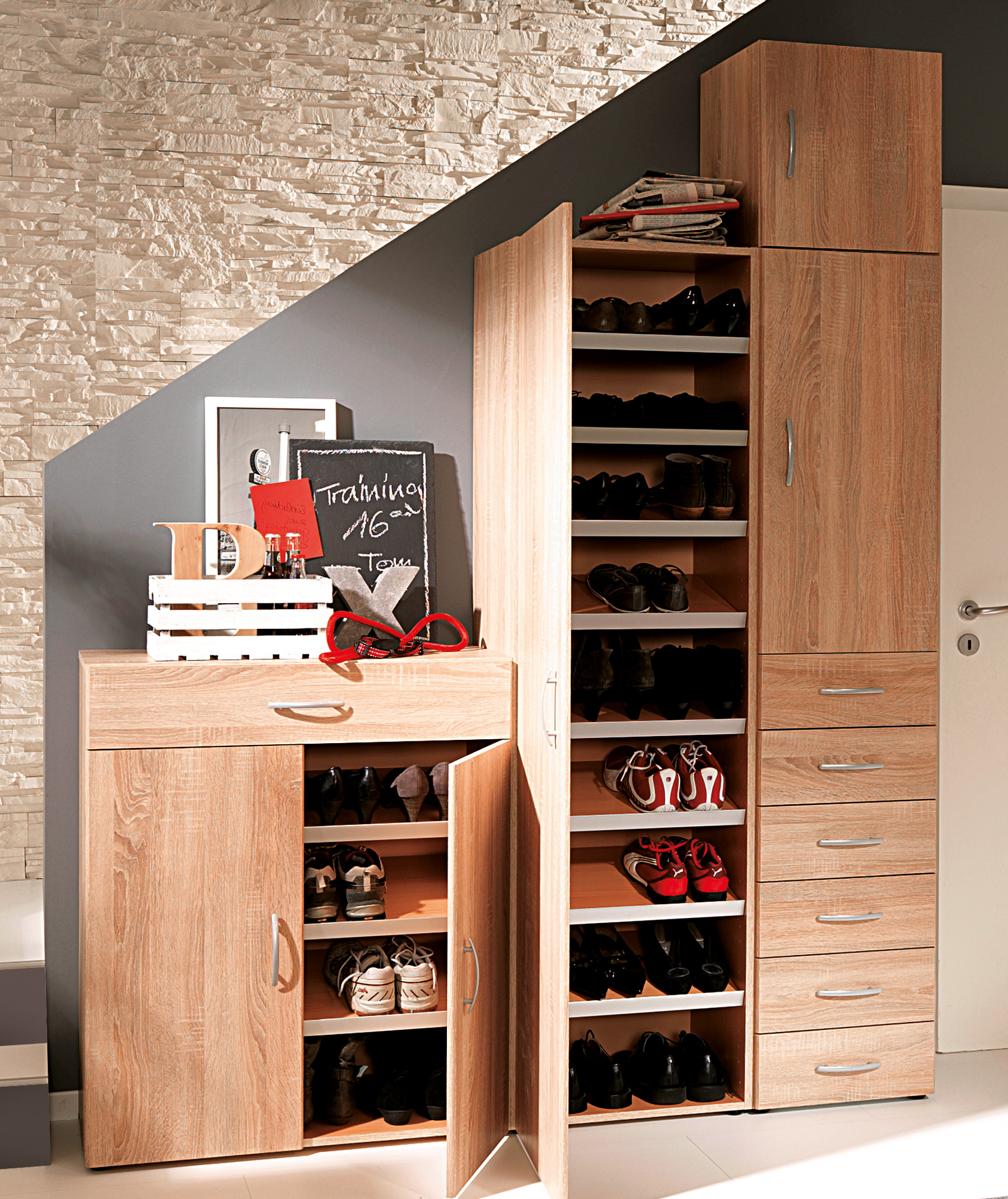 formal shoe wood finished cabinets