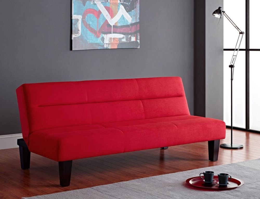 Futon Sofa Bed In Modern Red Great And Comfortable For Entertaining Guests  Or A Quick Nap