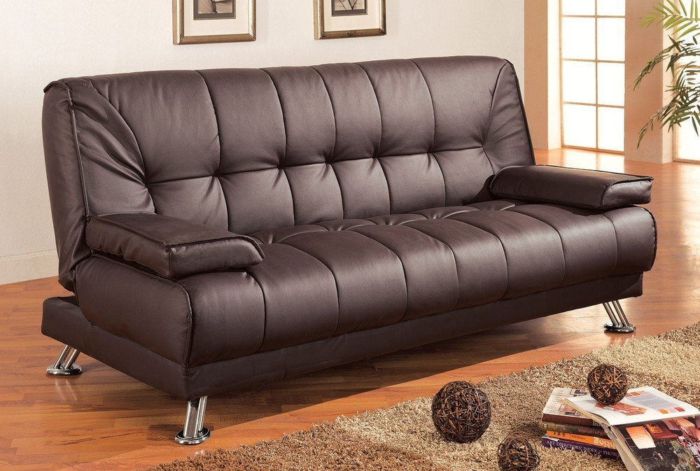 Coaster Futon Sofa Bed With Removable Arm Rests Brown Vinyl By Home Furnishings