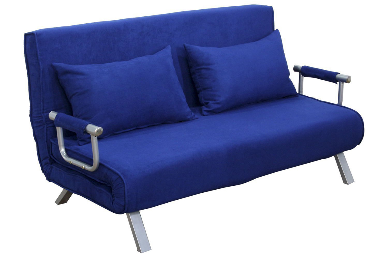 Sleeper Sofa - The HomCom 61 Inch Folding Futon Sleeper Couch Sofa Bed in Blue