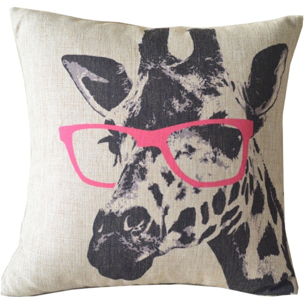 Giraffe With Pink Glasses Sofa Pillows For Indoors