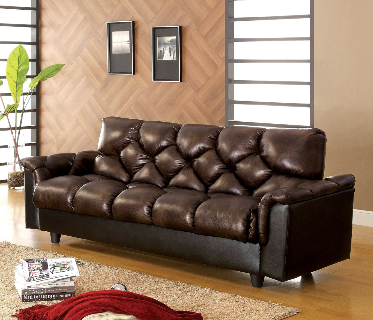 Carlington Leather Vinyl Storage Sleeper Sofa