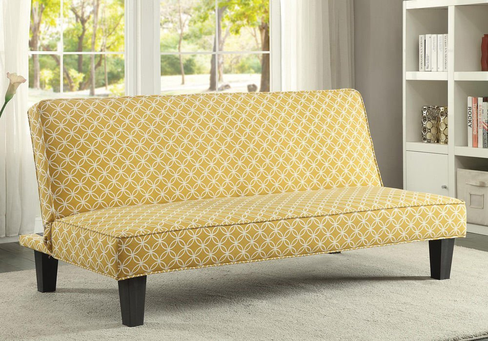 PerfectChoice Living Room Simple Adjustable Futon Sleeper Sofa Bed Trellis  Pattern Fabric Color Mustard