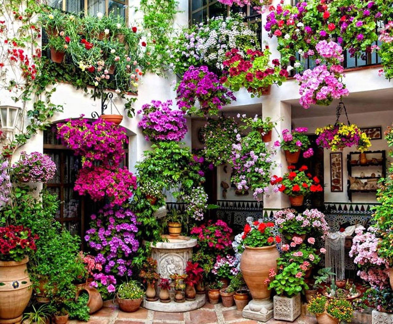 A Two Story Hanging Garden Of Flowers