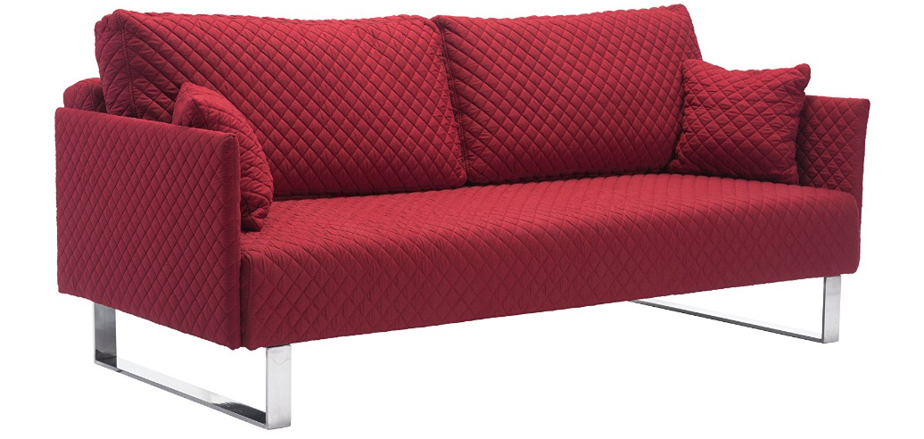 Zuo Pax Linen Quilted Sleeper Sofa In Red