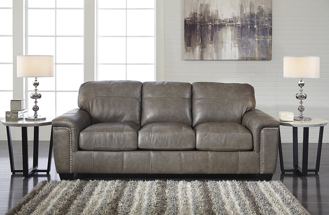 Attractive Donnell Granite Color Contemporary Top Grain Leather Queen Sofa Sleeper