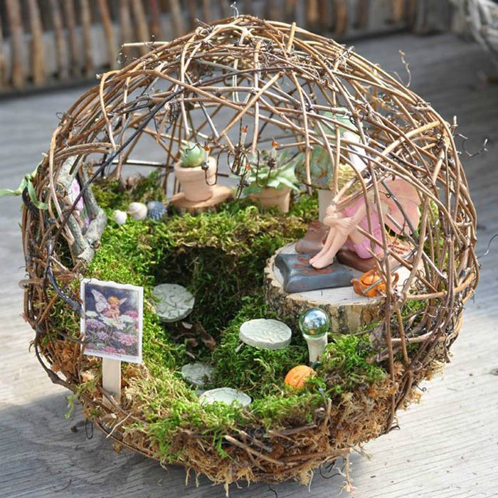 Miniature Fairy Garden Ideas amazing miniature garden design with patio furniture and lights Around My Twiggy Orb Source Miniature Gardeningcom