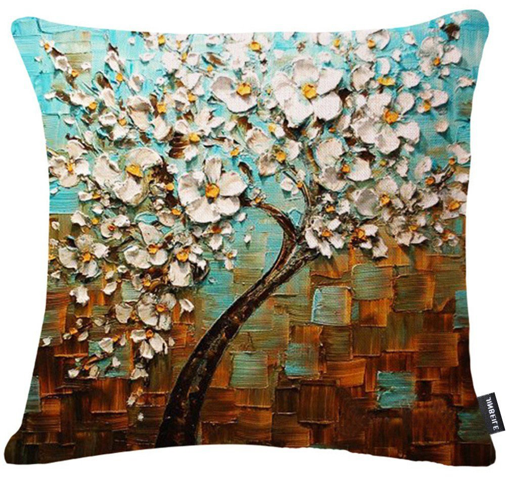 of the best throw pillows to buy in  - black tree with white flowers accent pillows for indoors