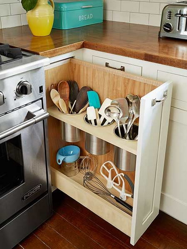 Organize Your Cooking Utensils in Hidden Containers