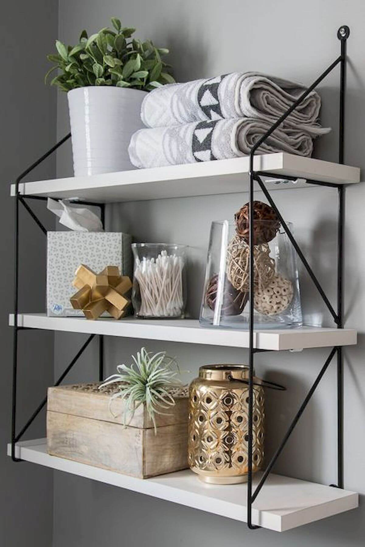 Simple White Shelves and Stylish Wire Frame