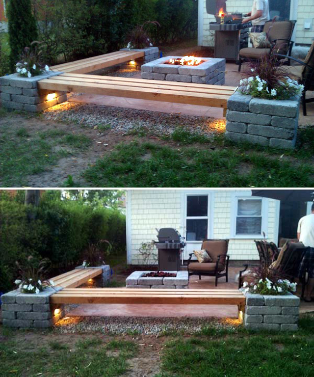 25 best diy patio decoration ideas and designs for 2018 understated brick and wood fire pit diy solutioingenieria Images