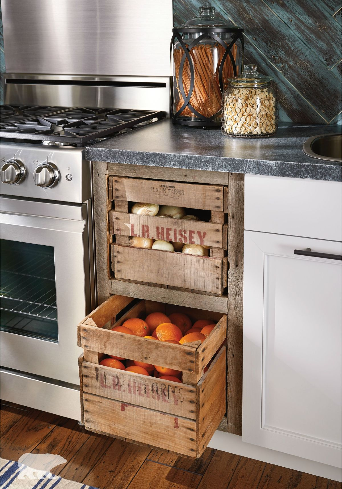 Install Pull-Out Fruit/Vegetable Crates For the Rustic Look