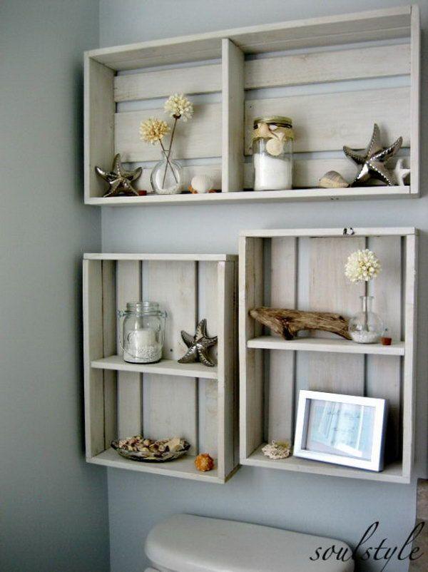 11. Rustic Beach Crate Wall Shelves