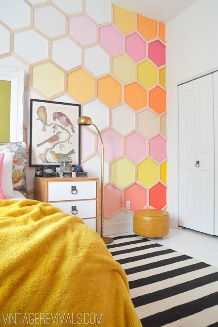 12. Honeycomb Accent Wall