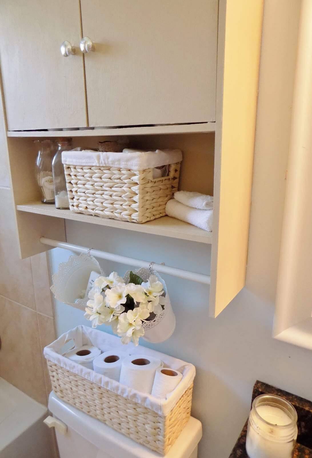 Over-the-Toilet Storage Cabinet with Baskets