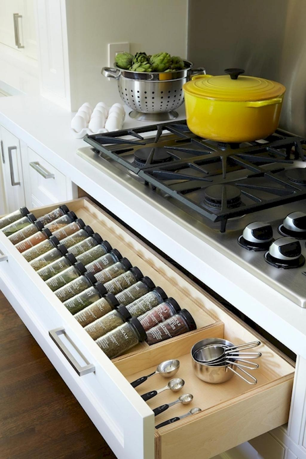 A Divided Drawer Helps You Organize Spices Within Easy Reach