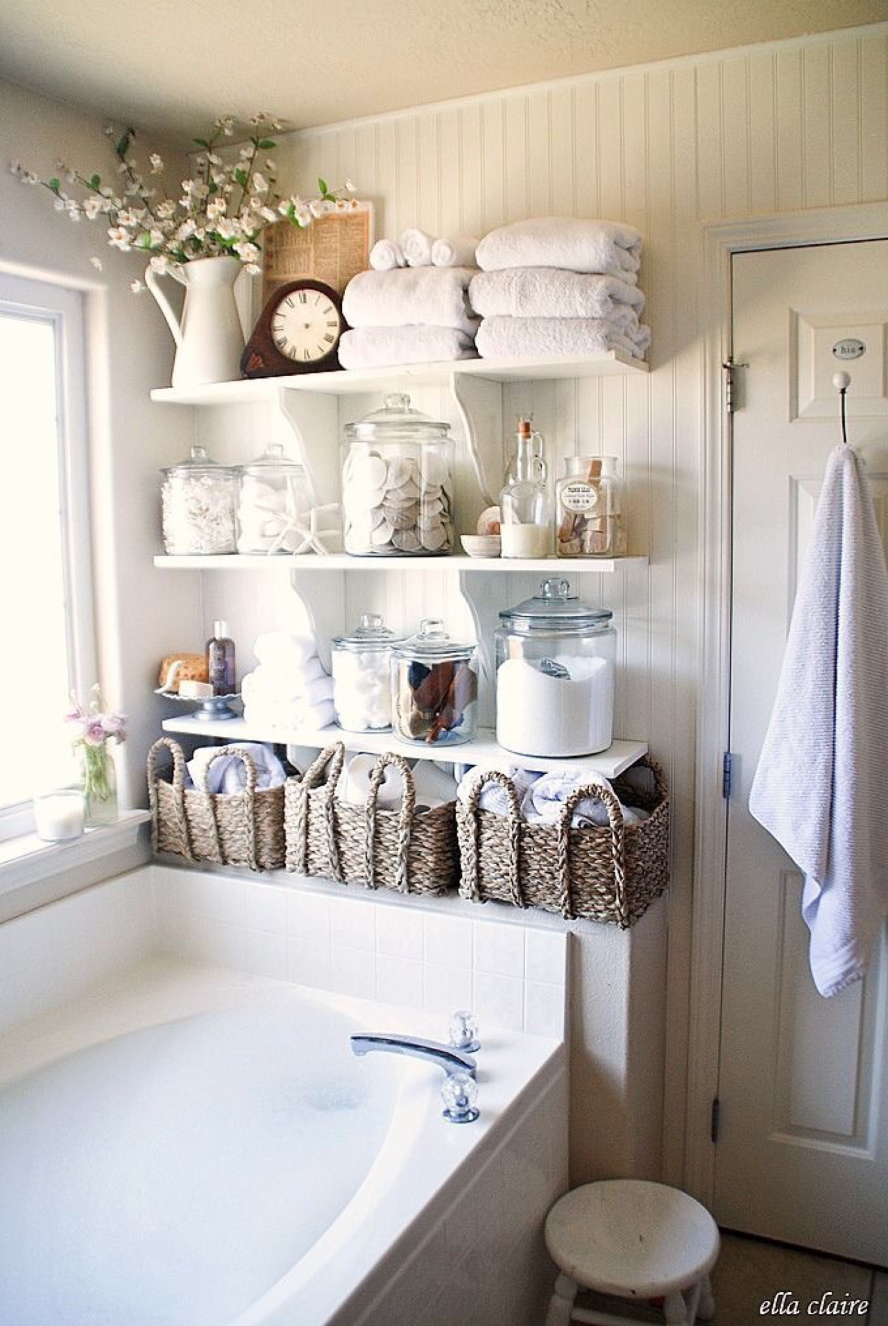 Bathroom wall storage baskets - Bottles And Baskets Bathroom Storage Ideas