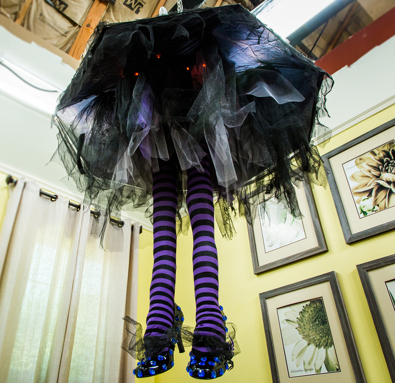 spooky witch leg chandelier shines - Halloween Decorations Witches