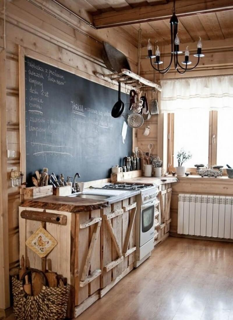 A Chalkboard Makes Unique Addition To Cabin Style Rustic Kitchen