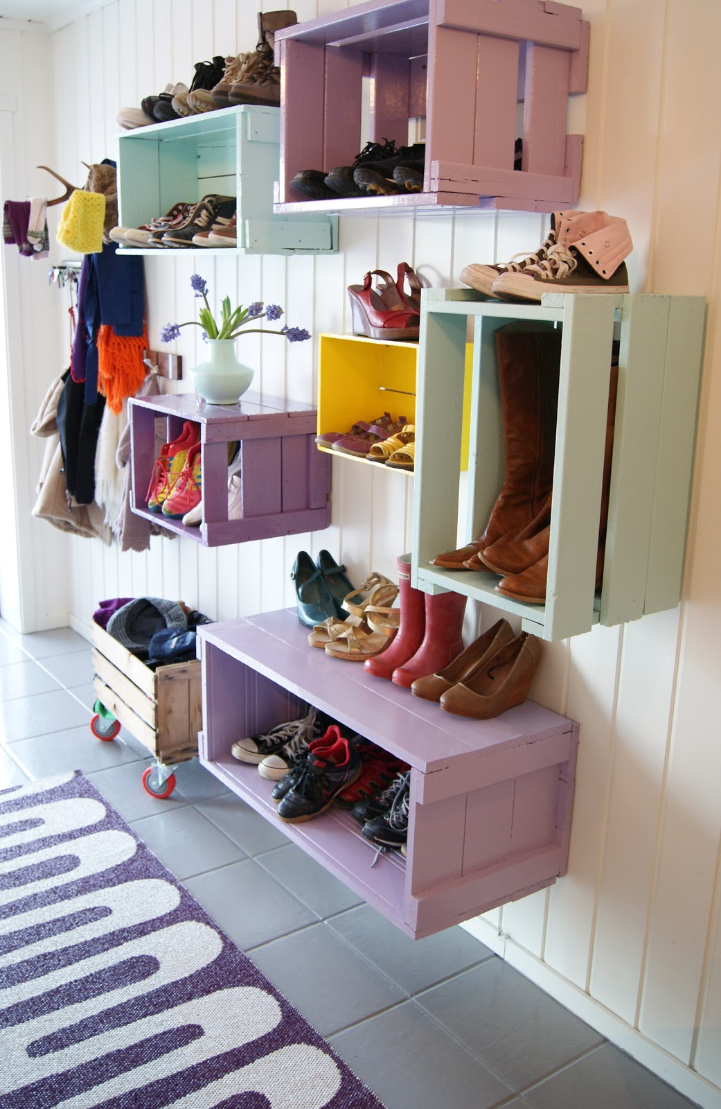 DIY Colorful Mud Room Cubbies