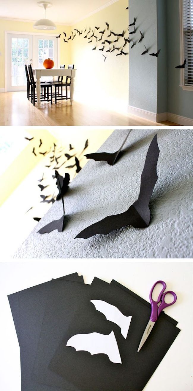 Diy indoor halloween decorations - 9 Bats Fly With Paper Cutouts