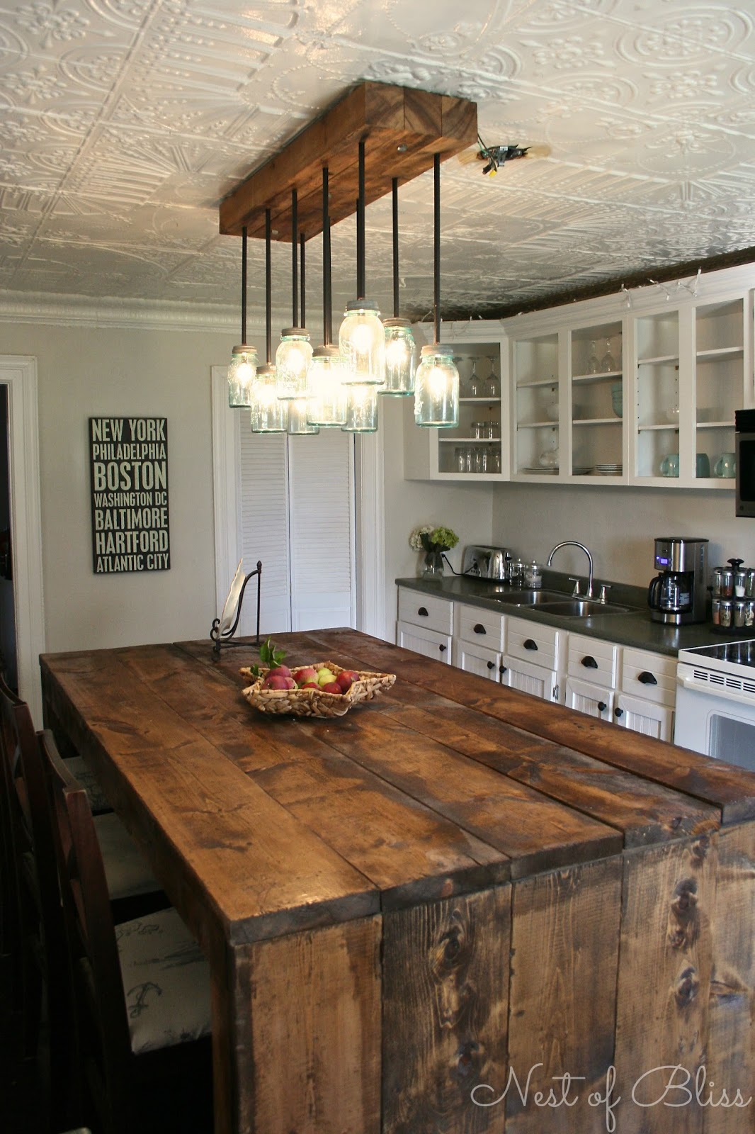 marvelous Country Farmhouse Kitchen Designs Part - 20: 11. Tin Ceiling + Heavy Wood u003d Unique Atmosphere