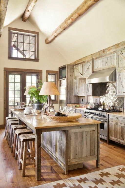 Elegant Weathered Wood Maximizes The Airy Space Of A High Ceilinged Rustic Country  Kitchen Design