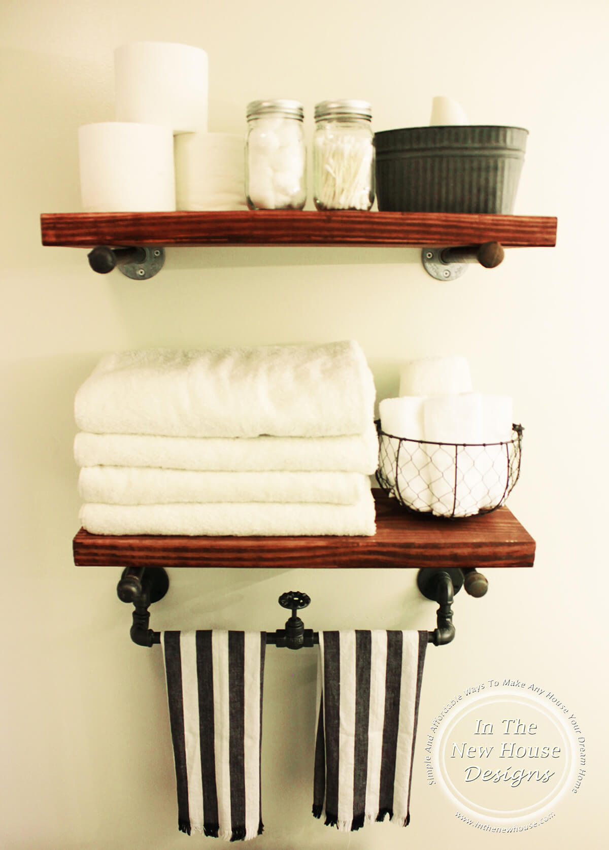 Stained Wood Rustic Bathroom Shelving