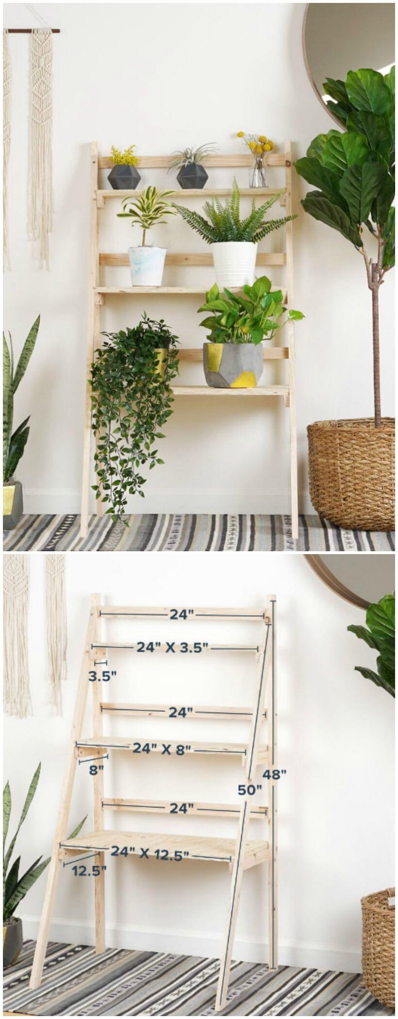 Wooden Step Ladder Shelving Unit