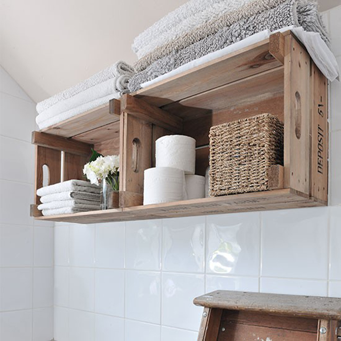 Use Crates to Expand Your Bathroom Shelves