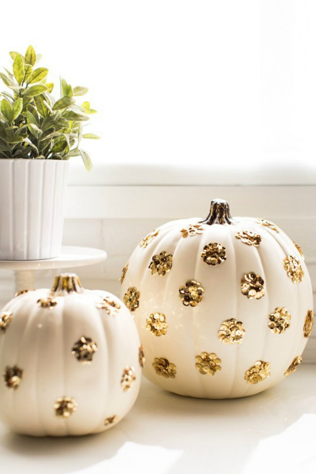 Sequins Add Sparkle to Plastic Pumpkins