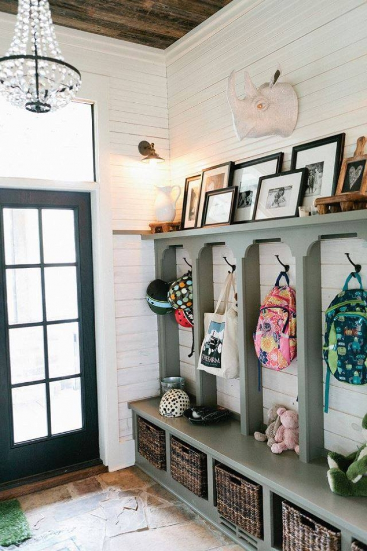 simple hooks and baskets make for great rustic entryway decorating ideas - Entryway Decorating Ideas