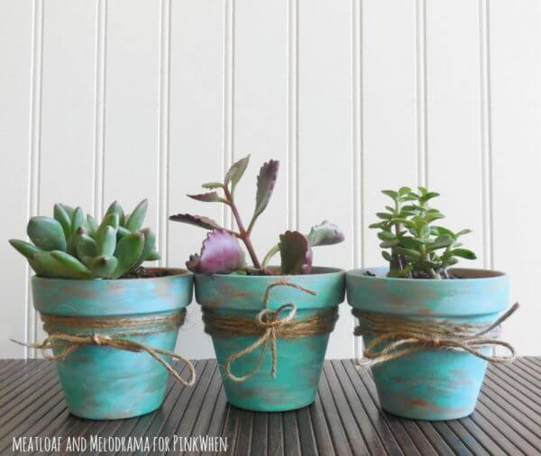 Worn Old Pots With Twine